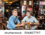 smiling friends drinking beer... | Shutterstock . vector #506807797