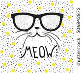 cute cat with glasses  t shirt... | Shutterstock .eps vector #506842873