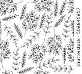 hand drawn vintage floral... | Shutterstock .eps vector #506845657