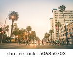 locals and tourists walking on... | Shutterstock . vector #506850703