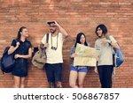 friends travel backpacker... | Shutterstock . vector #506867857