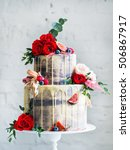 wedding cake with flowers  figs ... | Shutterstock . vector #506867917