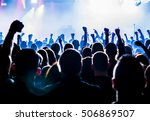 silhouettes of concert crowd in ... | Shutterstock . vector #506869507