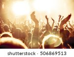 silhouettes of concert crowd in ... | Shutterstock . vector #506869513