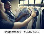 clothes shop costume dress... | Shutterstock . vector #506874613