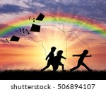 happy children play with kite... | Shutterstock . vector #506894107