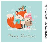 Stock vector cute christmas greeting card with fox and owl 506898043