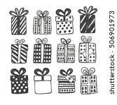 christmas set with gift boxes ... | Shutterstock .eps vector #506901973