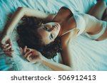 young sexy woman in white... | Shutterstock . vector #506912413