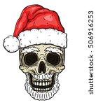 Santa Claus Skull. Cartoon...
