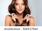 beautiful model girl with shiny ... | Shutterstock . vector #506917063