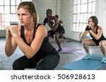 team yoga class female trainer... | Shutterstock . vector #506928613