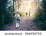 young women walking on the... | Shutterstock . vector #506950753