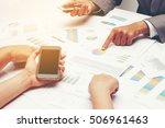 human hands of group coworkers... | Shutterstock . vector #506961463