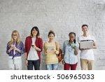young diversity standing row... | Shutterstock . vector #506965033