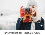 young blond curly smiling... | Shutterstock . vector #506967307