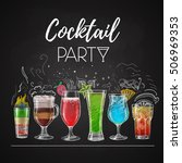 chalk drawings. cocktail menu | Shutterstock .eps vector #506969353