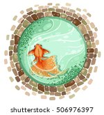 goldfish pond top view vector... | Shutterstock .eps vector #506976397