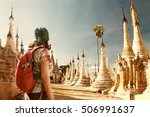 backpacker traveling  with... | Shutterstock . vector #506991637