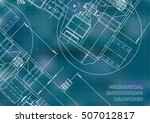 mechanical engineering drawing. ... | Shutterstock .eps vector #507012817