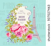 vintage blue card with spring... | Shutterstock .eps vector #507027463