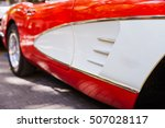 close up of side doors of red... | Shutterstock . vector #507028117