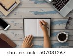 desktop wooden office with... | Shutterstock . vector #507031267