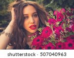 portrait of a girl with flowers. | Shutterstock . vector #507040963