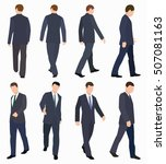 walking men   front view back... | Shutterstock . vector #507081163