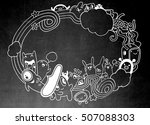 crazy monster social with copy...   Shutterstock .eps vector #507088303