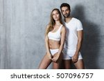 beautiful people in underwear ... | Shutterstock . vector #507096757