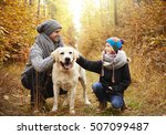 Stock photo walking with dog in the forest 507099487