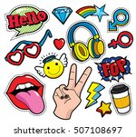 fashion patch badges with lips  ... | Shutterstock .eps vector #507108697