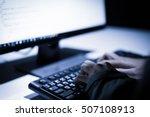 hooded computer hacker stealing ...   Shutterstock . vector #507108913