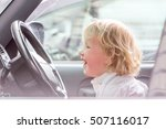 young happy child traveling by... | Shutterstock . vector #507116017
