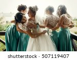 laughing bride and bridesmaids... | Shutterstock . vector #507119407