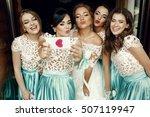 funny bridesmaids and bride... | Shutterstock . vector #507119947