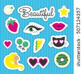 set of stickers. vector... | Shutterstock .eps vector #507124357