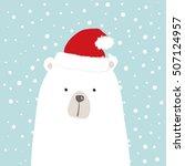 white bear with santa hat  ... | Shutterstock .eps vector #507124957