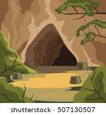ancient cave. vector flat... | Shutterstock .eps vector #507130507