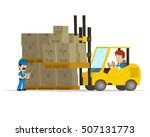 cartoon concept of a logistics... | Shutterstock .eps vector #507131773