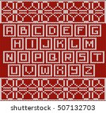 christmas knitted font in... | Shutterstock .eps vector #507132703