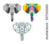 polygon triangle elephant... | Shutterstock .eps vector #507142003