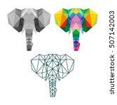 polygon triangle elephant... | Shutterstock .eps vector #507142003