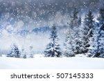 winter landscape with snowy... | Shutterstock . vector #507145333