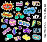 pop art set with fashion patch... | Shutterstock .eps vector #507158713