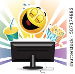 smiley laughing while watching... | Shutterstock .eps vector #507174883