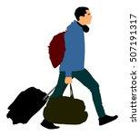 tourist man traveler carrying... | Shutterstock .eps vector #507191317
