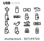 vector black line usb icons set ...
