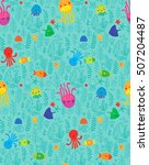 seamless pattern funny sea... | Shutterstock . vector #507204487
